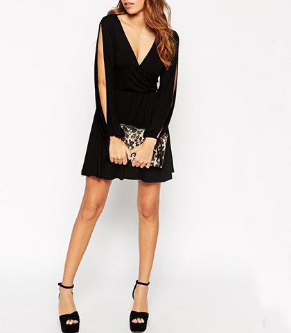Black Split Sleeve Mini Dress Plunging Neckline Tied Wrists