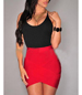 Tight Fitting Short Dress – Two Tone / Split Waist / Irregular Hemline / Scoop Neckline