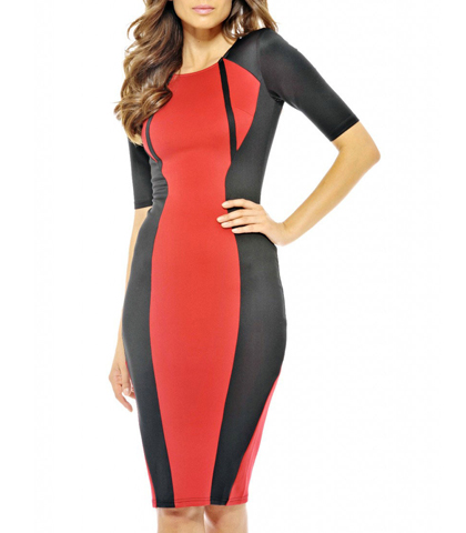 Three Quarter Length Fitted Dress – Red and Black