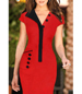 Red Black Midi Dress – Black Coordinating Buttons / Shirt Like Collar