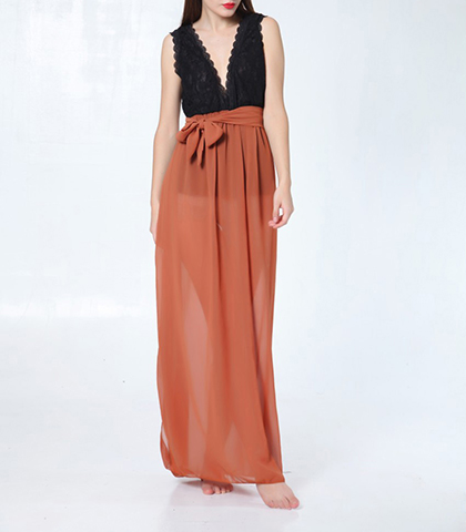 Chiffon Dress – Black Salmon / Plunging Neckline / Full Length Skirt