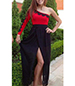 One Shoulder Evening Dress – Black Skirt / Red Top