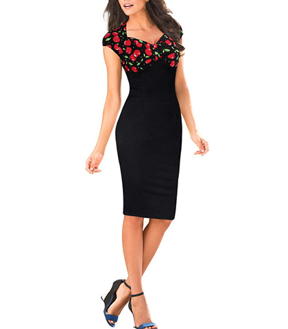 Midi Length Sheath Dress – Cherry Print / Black Red / Empire Waistline