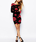 Bodycon Dress – Lipstick Print / Dark Pink Kisses Over Black