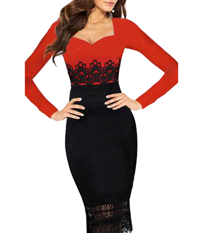 Midi Bodycon Dress – Red and Black / Lace Trim