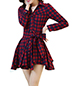 Long Sleeved Mini Dress – Red Plaid / Full Skirt