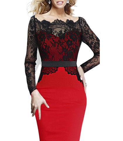 Red dresses with black lace