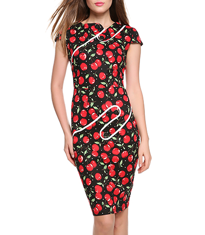 Retro Style Pencil Bodycon Dress – Cap Sleeves / Accent Trim and Buttons / Knee Length