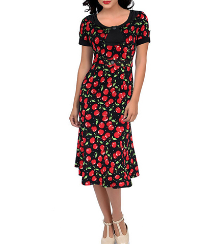 Pretty Retro Dress – Bright Red Cherries With Green Leaves / Round Neck