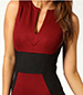 Slim Bodycon Dress – Keyhole Bodice / Accent Banding / Slim Fitting / Sleeveless