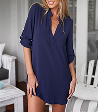 Dark Blue Blouse – Open Collar / Tab Turned Sleeves / Curved Man's Shirt Hemline