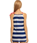 Striped Short Dresses – Knit Fabric / Polka Dot Drawstring / Raglan Shoulders