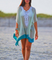 Beach Wrap Dress – Lace Front Detail / Sheer / Handkerchief Styling / Pointed Hemline