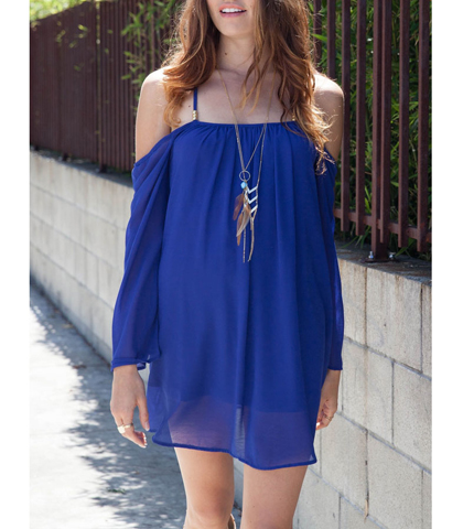 Sling Chiffon Dress – Two Layers / Semi-Sheer / Drop Shoulders / Narrow Criss Cross Straps