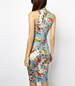 Flower Strewn Sheath Dress – Azure Blue