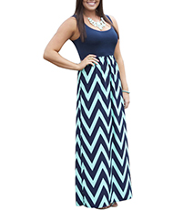 Sweet Maxi Dress – Chevron Skirt / Sleeveless Design / Teal / Navy