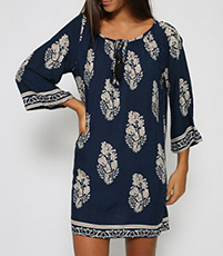 Navy Shift Dress – White Bohemian Style Print / Half Sleeves with Bat Wing Style
