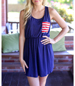Navy Blue Shift Dress – Red and White Pocket Accent / Bow Detail in Back