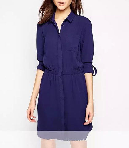 Navy Blue Shirt Dress – V Neck Collar / Three Quarter Length Sleeves