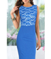Fitted Lace Dress – Blue Turquoise
