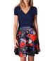 Fit and Flare Dress – Navy T Shirt Top / Floral Skirt Section