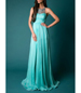 Slit Leg Ball Gown – Turquoise / Lace / No Sleeves