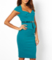 Fitted Pencil Dress – Blue / Low Cut Neckline / Knee Length
