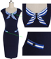 Navy Colored Knee Length Dress – Rounded Neck / Pin Stripe Tie Around Neck