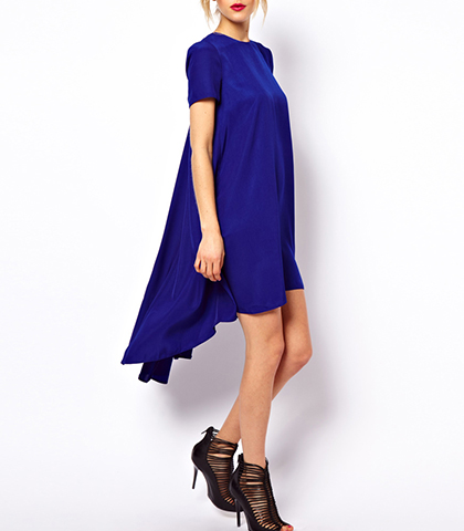 High Low Summer Swing Dress – Royal Blue / Short Fitted Sleeves