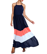Halter Maxi Chevron Dress – Iris / Navy Blue / Petunia Pink / Winter White