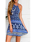 Skater Skirted Sundress – Blue / Halter Style / Delightful Border Print