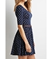 Polka Dot Skater Dress – Royal Blue / White / Deep Scooped Neckline