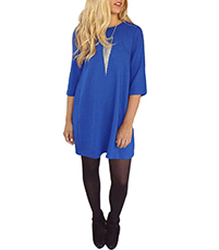Tee Shirt Style Tunic Dress – Casual / Blue