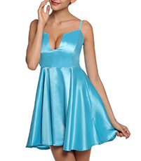 Satin Skater Dress – Exaggerated U Shaped Notch / Sky Blue