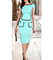 Knee Length Dress – Blue Color With The Black Piping
