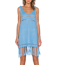 Fringed Mini Dress – Sky Blue / Tank Style