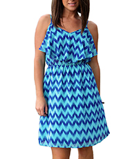 Mini Dress – Blue on Blue / Chevron Print