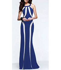 Halter Style Bodycon Maxi Dress – Blue / White Trim / Strategically-Placed Vertical Stripes
