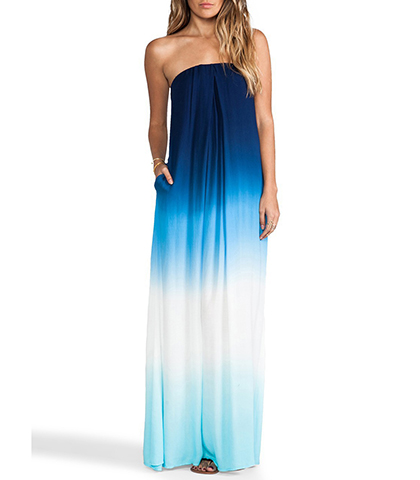Off the Shoulder Maxi Dress – Blue Ombre Print / Elasticized Bodice