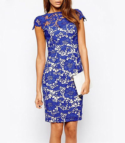 Bodycon Dress – Knee Length / Blue Lace / Short Capped Sleeves