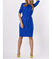 Midi Dress – Blue / Three Quarter Length Sleeves / High Rounded Neckline