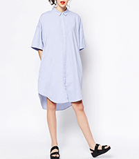 Loose Fitting Shirt Dress – Light Blue / Traditional Pointed Collar