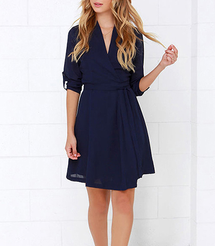Mini Dress – Chiffon / Royal Blue / Three Quarter Length Sleeves / Elbow Height Wide Cuffs