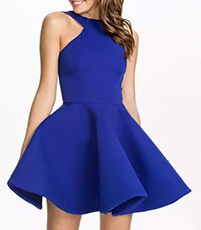Mini Skater Dress – Royal Blue / Halter Style Neckline