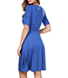 Fit and Flare Dress – Blue / Snugly Fit Wrapped Bodice