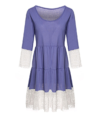 Laced Trimmed Dress at Sleeves and Bottom – Blue