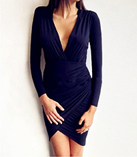 Long Sleeved Stretch Knit Wrap Dress – Deep V Neck / Asymmetric Hem