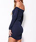 Off Shoulder Mini Dress – Midnight Blue / Long Sleeves