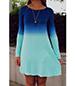 Slipover Mini Dress – Two Shades of Blue / Long Sleeves