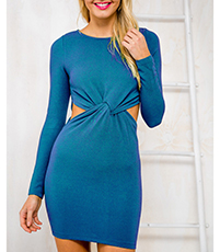 Tie Front Dress – Teal / Mini Length / Well-Fitted Bodice